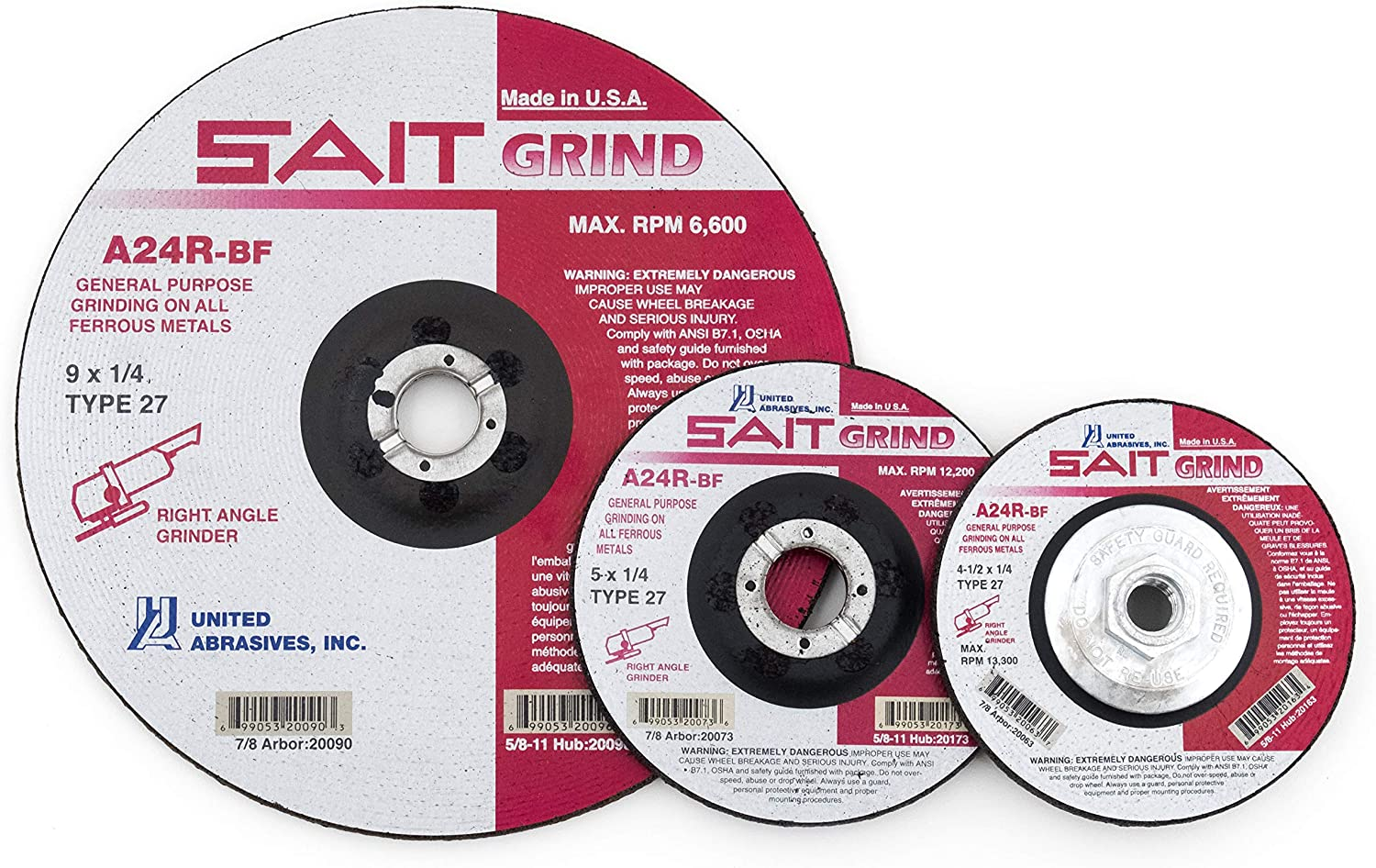 25-Pack United Abrasives-SAIT 20019 Type 27 4-Inch x 1//4-Inch x 3//8-Inch Grade A24R Long Life Depressed Center Grinding Wheels