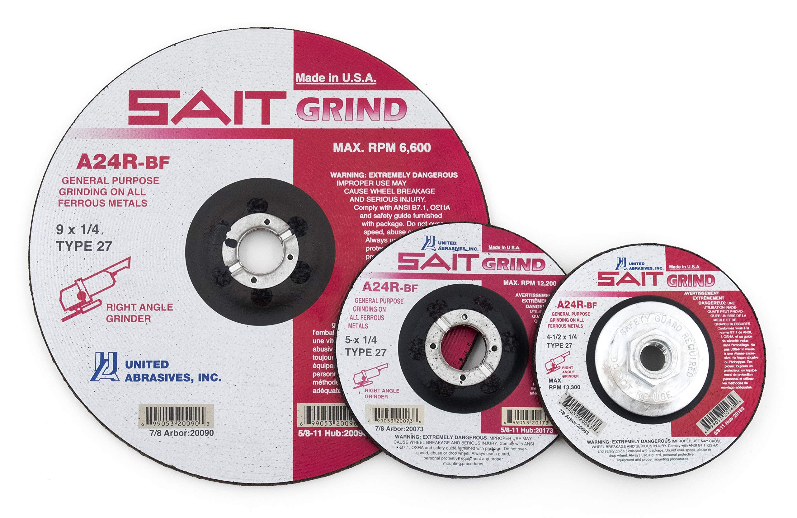 United Abrasives-SAIT 20063 Type 27 4-1/2-Inch x 1/4-Inch x 7/8-Inch Grade A24R Long Life Depressed Center Grinding Wheels, 25-Pack by United Abrasives- SAIT