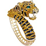 EVER FAITH Austrian Crystal Enamel Gorgeous Tiger Animal Bangle Bracelet Clear