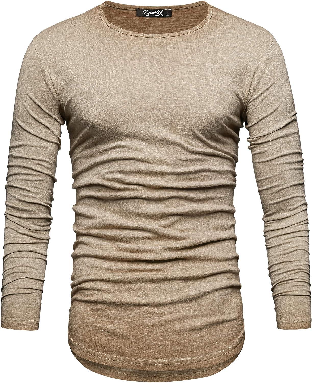 REPUBLIX Oversize Herren Longsleeve Vintage Sweatshirt O-Neck Basic O-Ausschnitt Shirt R-0038