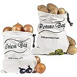 Reusable Storage Bags - Onion Holder Potato Storage Zipper Sprout Free Cotton Bag - Eco-Friendly Vegetable Storage for Fresh Potato & Onion -FREE Gift-Branded Eyeglass Pouch