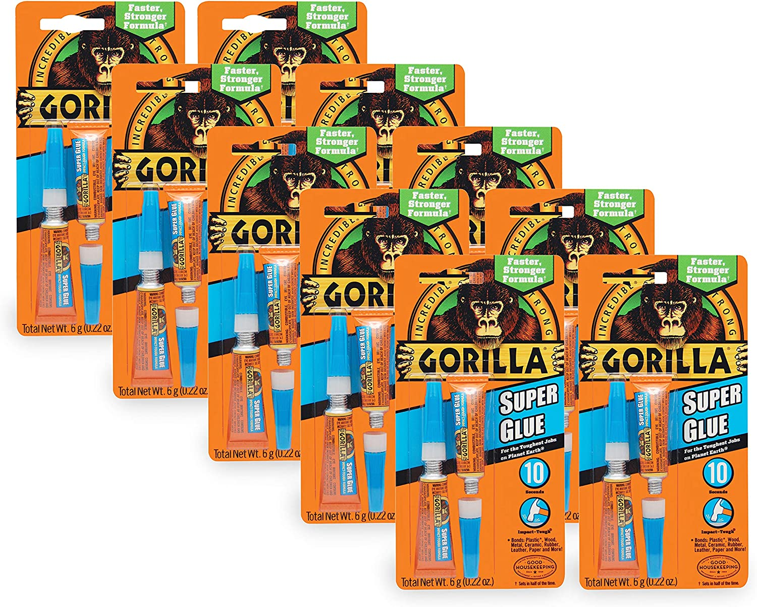 Gorilla Super Glue, Two 3 Gram Tubes, Clear, (Pack of 10)