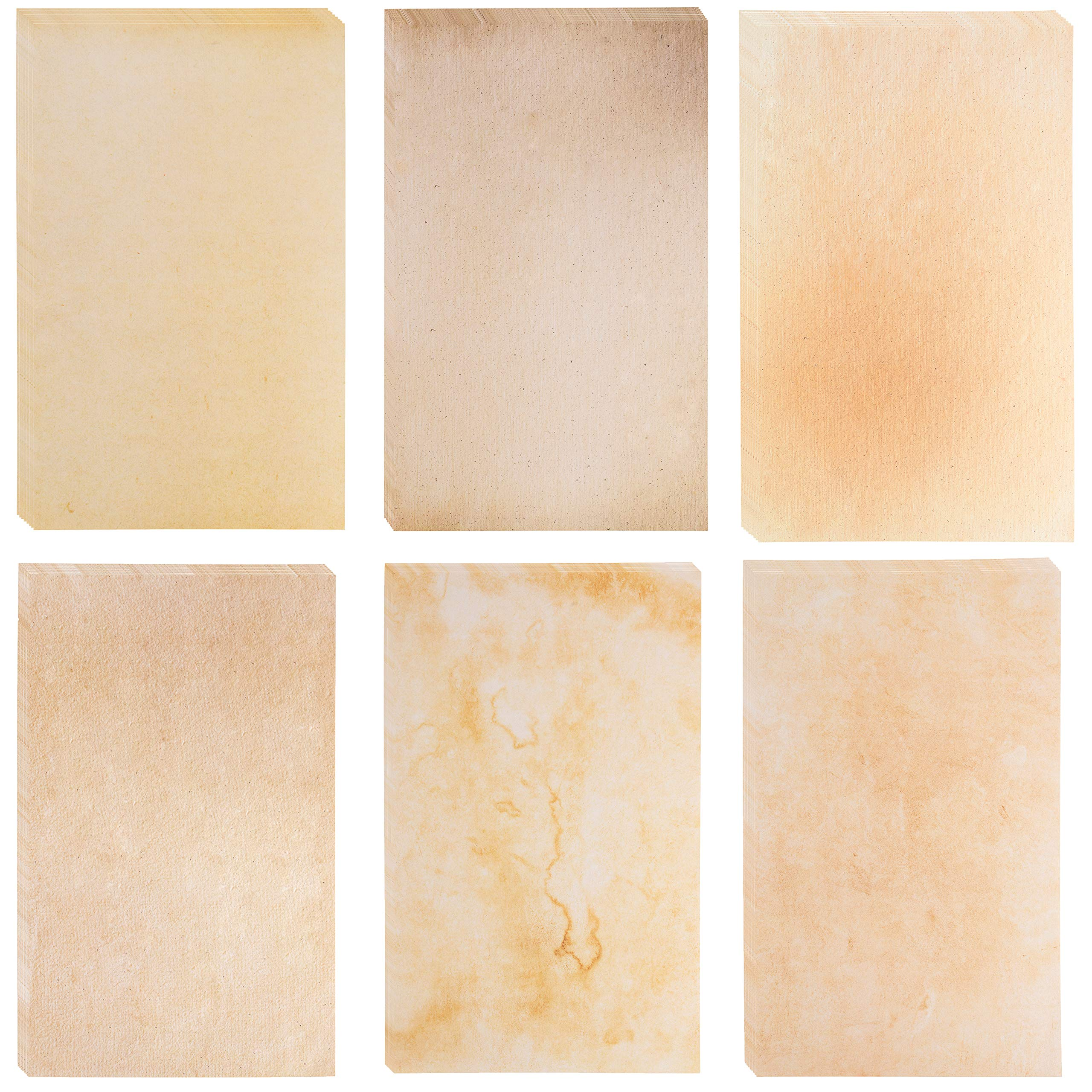 48-Sheet Stationery Paper - Old Fashion Aged Menu Paper for Restaurants, 6 Classic Vintage Antique Designs, Double Sided, Perfect for Printing, Copying, Crafting, Invitations, 8.5 x 14 Inches