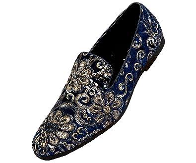 9450f5db0c7f3 Amazon.com | Amali Sequin Embroidered Smoking Slipper Men's Dress ...