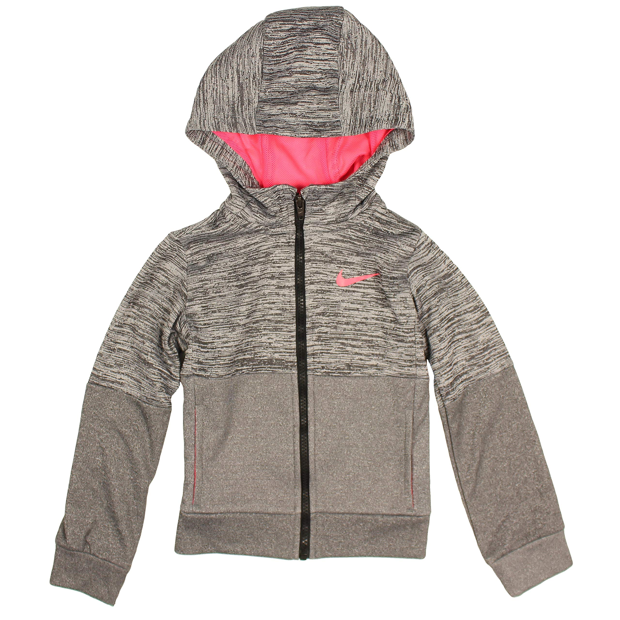 Nike Little Girls' Full Zip Dri-FIt Therma Hoodie (Gray/Neon Pink, 4) by Nike