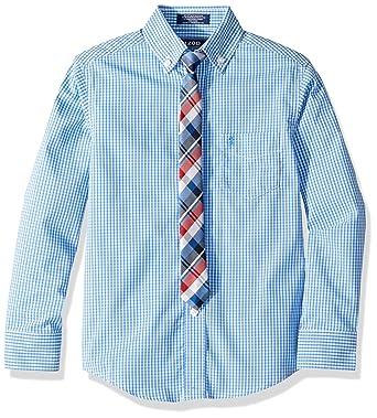 dcea69dd8 Amazon.com: Izod Boys' Long Sleeve Dress Shirt with Tie: Clothing