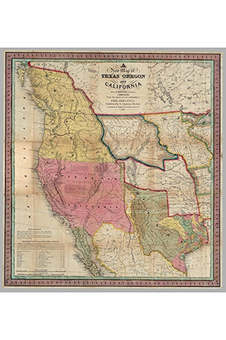 New Map Of Texas.Amazon Com History Prints A New Map Of Texas Oregon And California