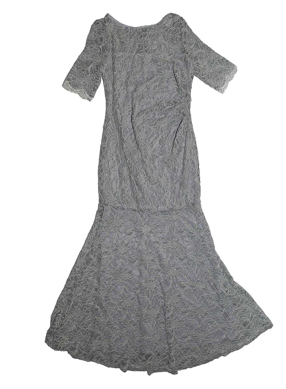 Amazon.com: Xscape Petite Glitter Lace Mermaid Gown (12P, Grey ...