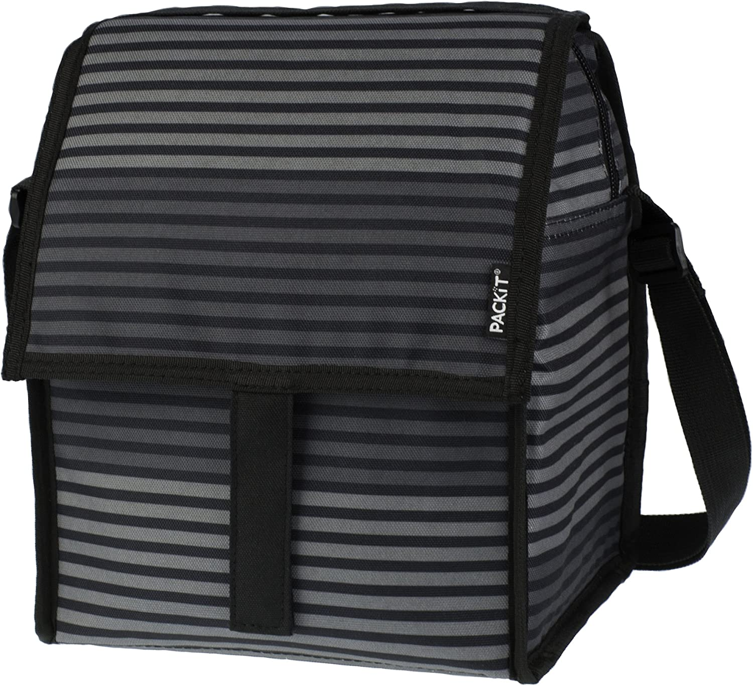 PackIt Freezable Deluxe Large Lunch Bag with Shoulder Strap, Gray Stripe