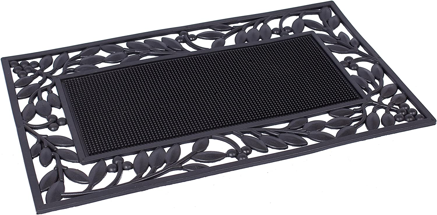BIRDROCK HOME Rubber Doormat with Leaf Border - 17.72 x 29.92 - Rubber Bristles - Outdoor Doormat - Keeps Your Floors Clean - Decorative Design