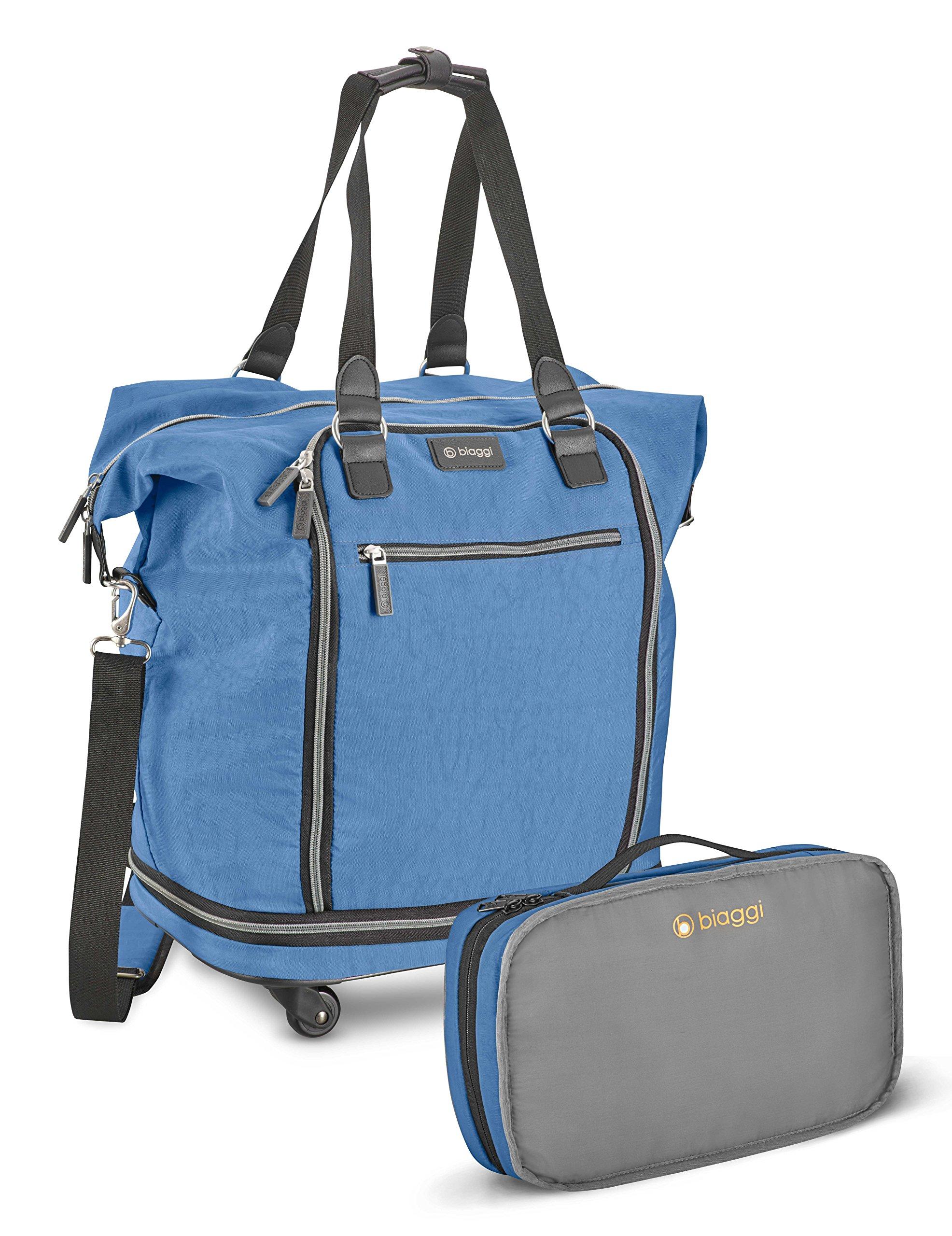 Biaggi Zipsak Micro Fold Spinner Fashion Tote - 20-Inch Luggage - As Seen on Shark Tank - Winter Blue