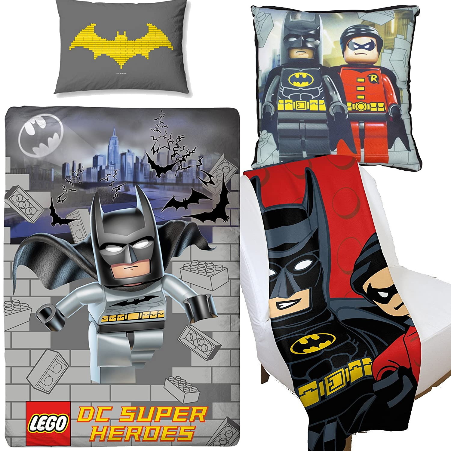 Lego Batman Kapow Duvet Cover & Canvas Cushion & Fleece Blanket Bedroom Set Kidco
