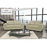 CAPRI - Beautiful Living Room (3+2 Sofa Set, Cream)
