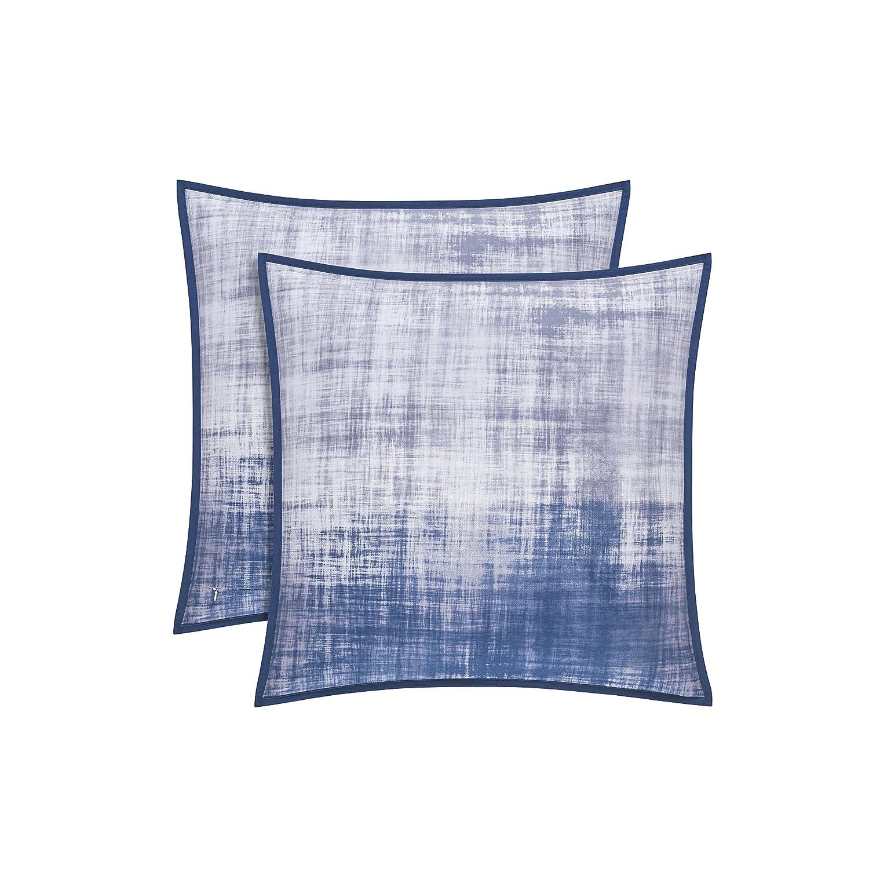 Five Queens Court Tristan 100/% Brushed Cotton Pillow Sham Grey /& Blue Standard