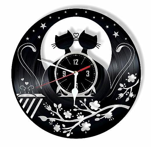 HMGift Reloj de Pared de Vinilo para Gatos - Gran Regalo ...
