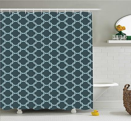 Ambesonne Quatrefoil Shower Curtain Moroccan Style Oriental Pattern Ancient Antique Tiling Design Fabric Bathroom