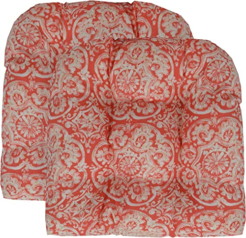RSH D cor Indoor Outdoor Set of 2 U-Shape Wicker Tufted Seat Cushions 19 x19 Patio Weather Resistant Choose Color Coral Bohemian Wheel