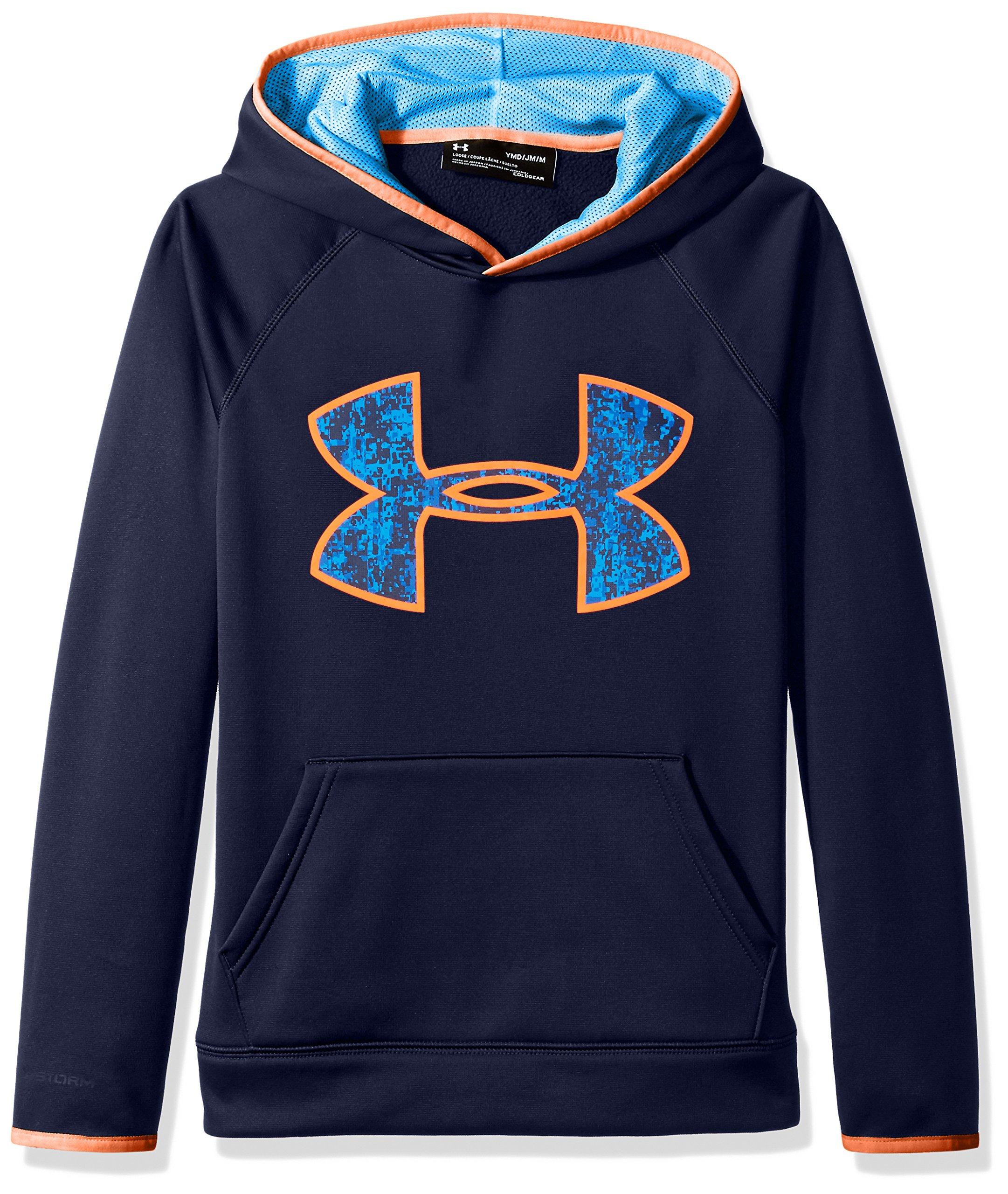 Under Armour Boys' Armour Fleece Big Logo Hoodie,Midnight Navy (410)/Mako Blue, Youth Medium by Under Armour