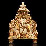 Ganesh Statue Idol - GOLD WORK Marble Stone Temple Gift Diwali Décor