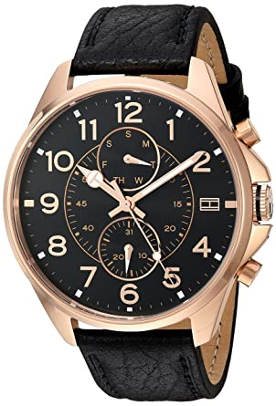 503f9095ac2b Buy Tommy Hilfiger Quartz Movement Analogue Black Dial Men s Leather Watch  Online at Low Prices in India - Amazon.in