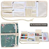 Teamoy Crochet Hooks Holder, Canvas Roll Organizer with Zippered Web Pockets for Various Crochet Needles and Knitting Accessories, Compact and Lightweight--No Accessories Included
