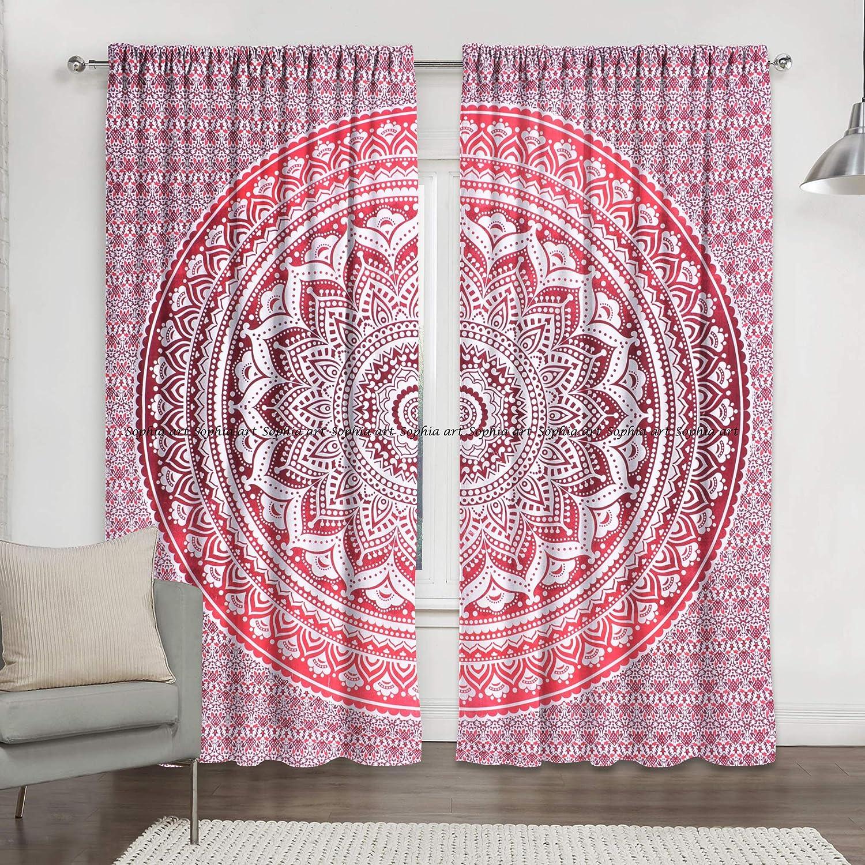 Sophia Art Indien Rouge Ombre Mandala Hippie Rideaux Bohemian psych/éd/élique Rideau de fen/être Panneau de Rideau drap/é Indien Fait /à la Main.