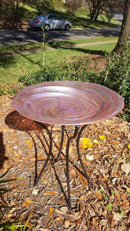 Grateful Gnome - Hand Painted Glass Bird Bath - Lollipop Bird Bath with Stand and Solar Fountain