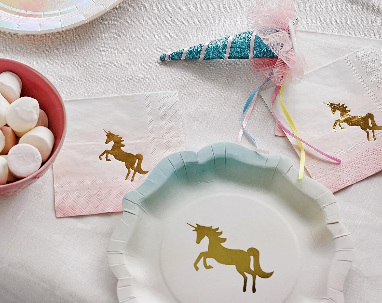 Papel. Talking Tables servilleta de C/óctel ombre con detalle de unicornio hoja de oro Rosa