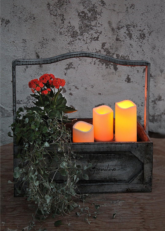 KAMACA LED - Kerzen im Dreierpack / 3er Set - Größe 15 cm / 11, 5 cm / 7, 5 cm hoch - dekorative und stromsparende LED Technik inkl. Timer - Kerze flackernd - in amber - für Innen und Außen - Bereich - OUTDOOR - NEU - aus dem KAMACA-SHOP