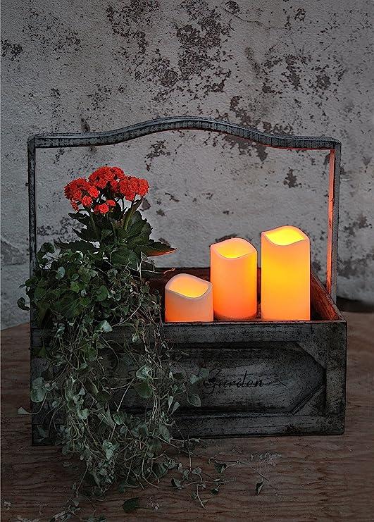 KAMACA LED - Kerzen im Dreierpack / 3er Set - Größe 15 cm / 11,5 cm / 7,5 cm hoch - dekorative und stromsparende LED Technik