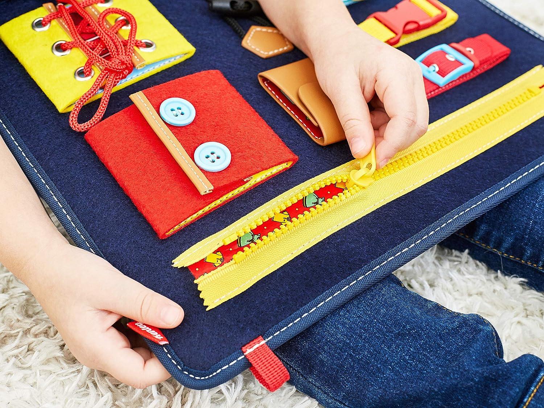 Baby Motorikspielzeug f/ür Jungen und M/ädchen 1 2 3 4 Jahre Motorik Lernspielzeug mit Schnallen und Verschl/üssen Busy Board Motorikbrett f/ür Fertigkeiten und Selbst Anziehen Montessori Spielzeug