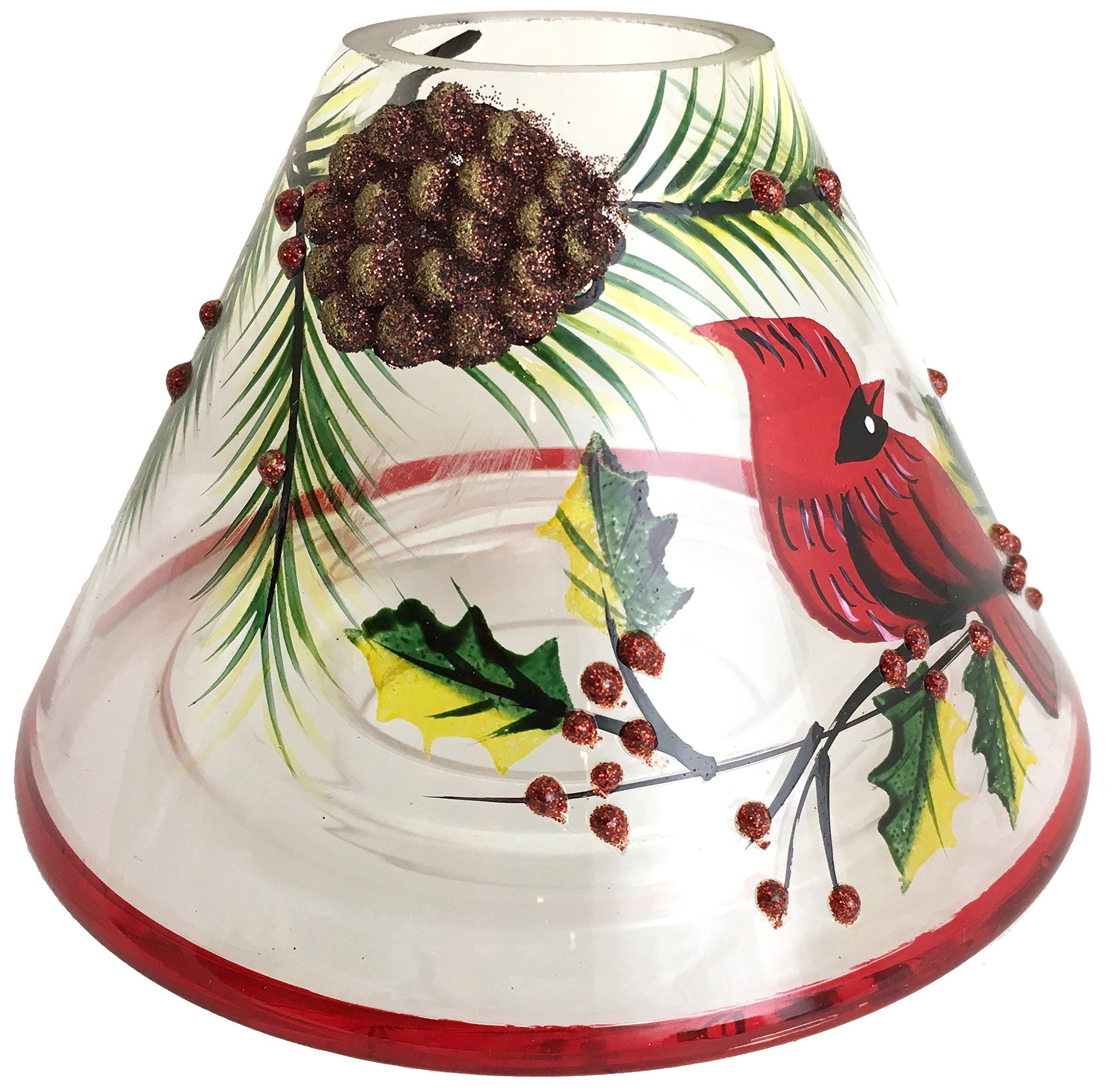 Biedermann & Sons Handpainted Jar Shades, Cardinal Scene, 4-Count by Biedermann & Sons (Image #1)