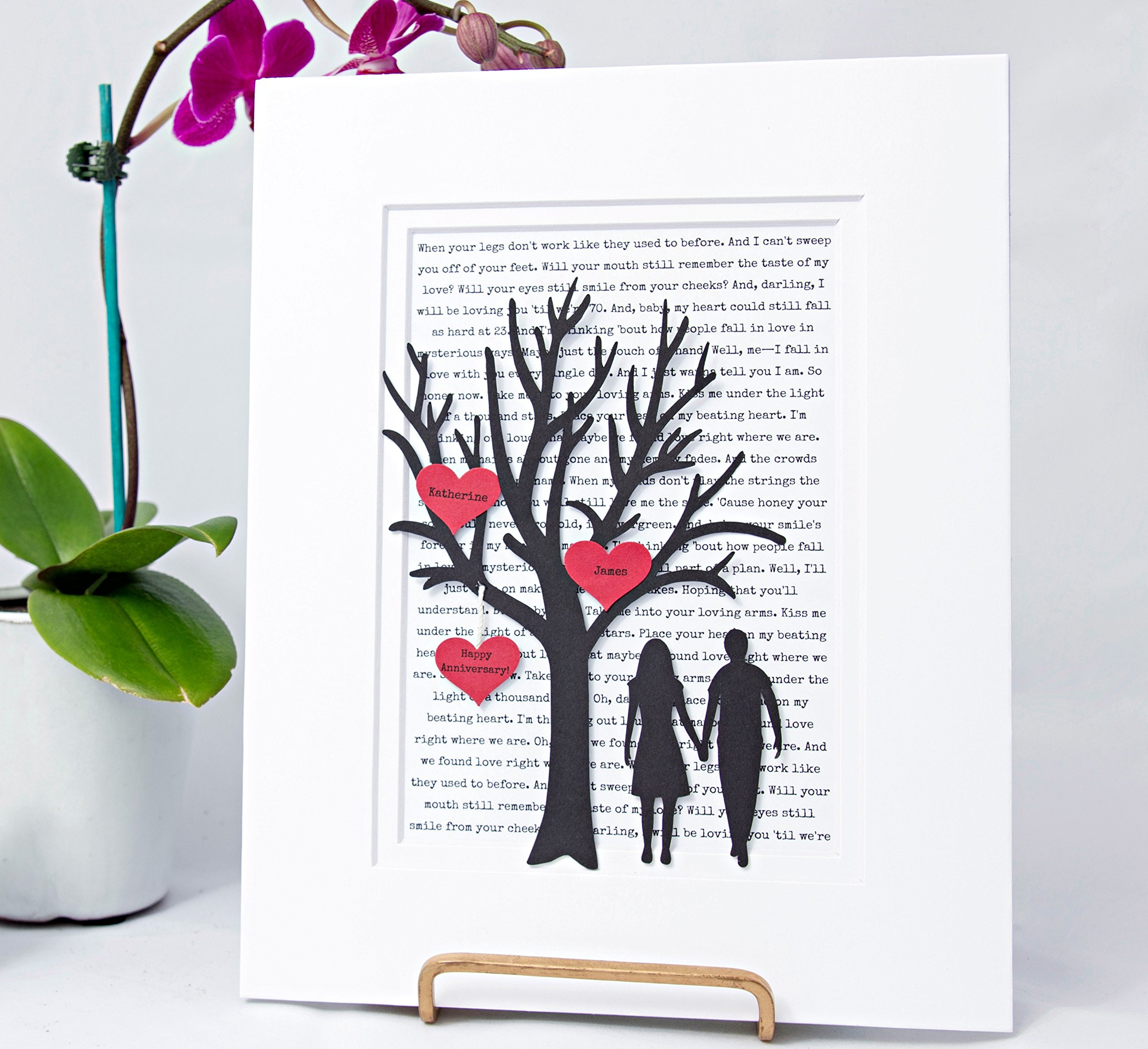 Personalized First Anniversary or Wedding Gift - 3D Paper Tree & Hearts - Custom 1st Anniversary Gift- Paper Anniversary - ''Im Your's'' First Dance Song Lyrics Background - One Year Anniversary Gifts