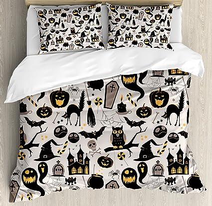 ambesonne vintage halloween duvet cover set queen size halloween cartoon jack o lantern tombstone skulls