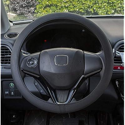 Handgogo Steering Wheel Cover 15inch Black - Auto Car Breathable Wheel Covers Universal Anti Slip Composite Rubber 15 inch Black Elegant Temperament Good Look 37-38 cm: Clothing