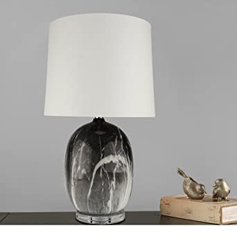 Cioffi 24u0026quot; Table Lamp,Faux Marble Finish Glass Lamp With Clear Crystal  Base,