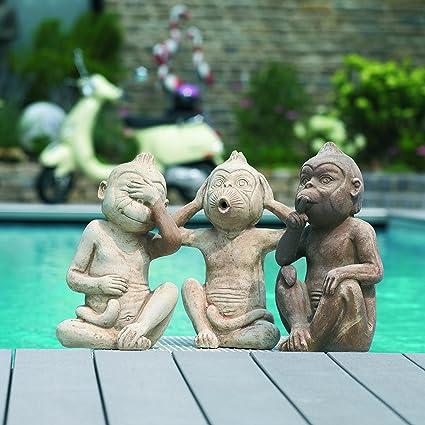 Terracotta Gartendekoration 3er Set Nichts Sehen Hören Sagen