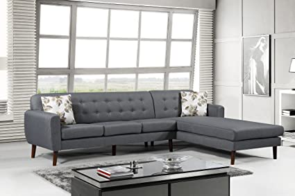 Merveilleux US Pride Furniture S00129 R Paula Right Facing Sectional Tufted Back, Grey