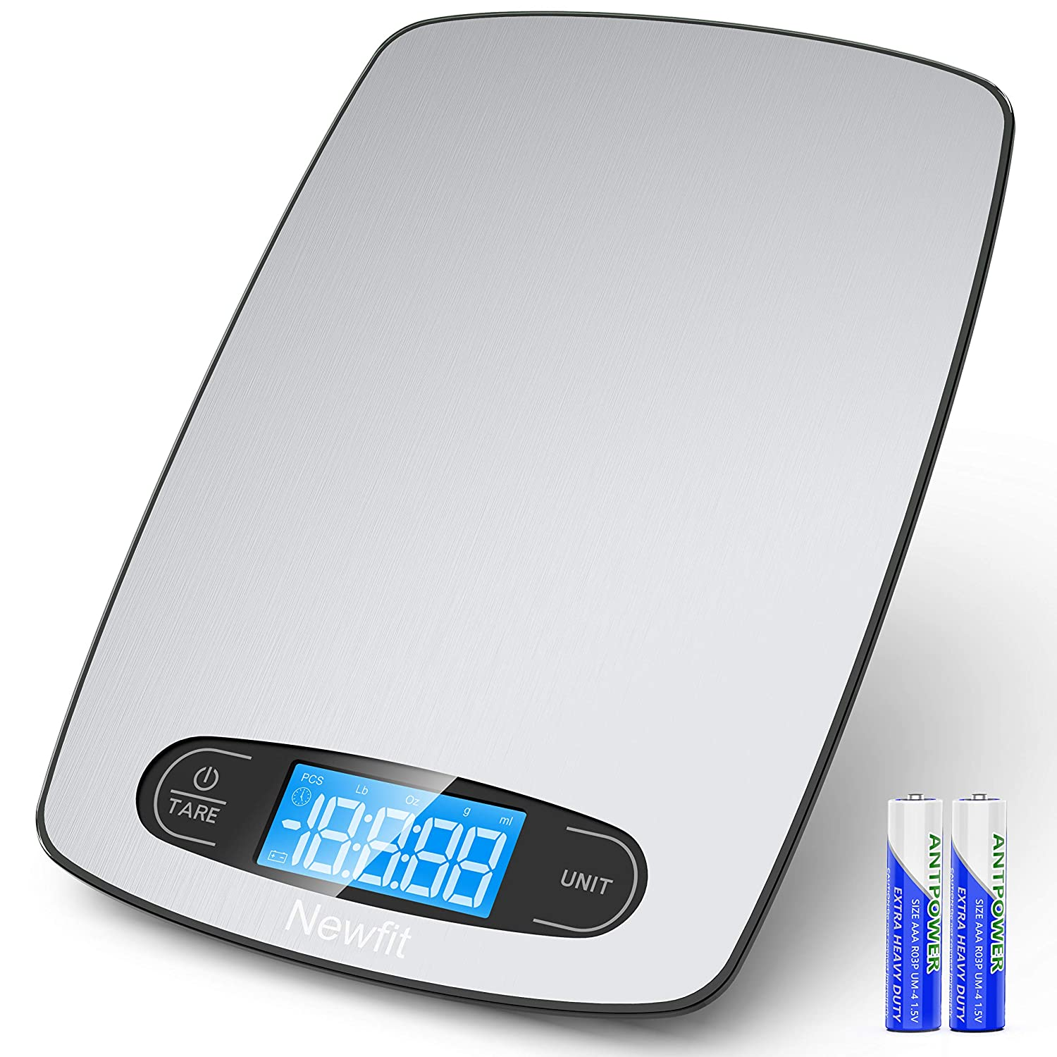 Newfit Food Scale, 22lb Digital Kitchen Scale Weight Grams and oz for Cooking Baking, 1g/0.1oz Precise Graduation, Stainless Steel and Tempered Glass