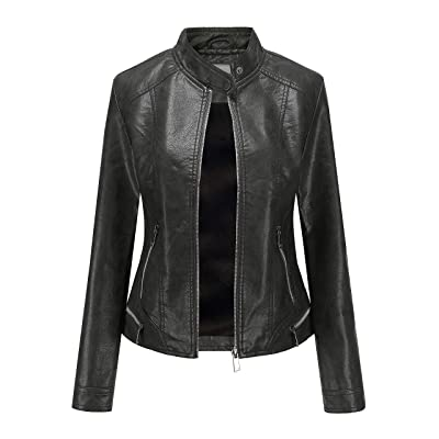 SummerDiary Women's Faux Leather Jacket Moto Casual Short Coat for Spring Jackets (Small, Black Spring) at Women's Coats Shop