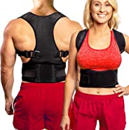 Back Brace Posture Corrector - Best Fully Adjustable Support Brace - Improves Posture and Provides Lumbar Support - for Lower