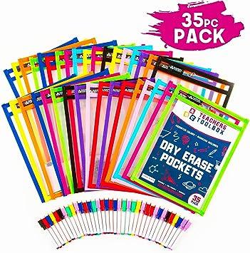 "Dry Erase Pockets 35pc [10"" x 13""] +FREE PENS +BONUS 900 ..."