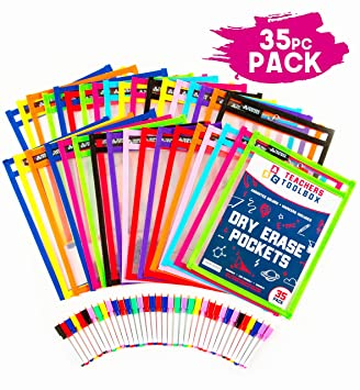 """Dry Erase Pockets 35pc [10"""" x 13""""] +Free PENS +Bonus 900 Downloadable  Worksheets! Write and Wipe Reusable Plastic Sheet Protectors for Classroom  ..."""