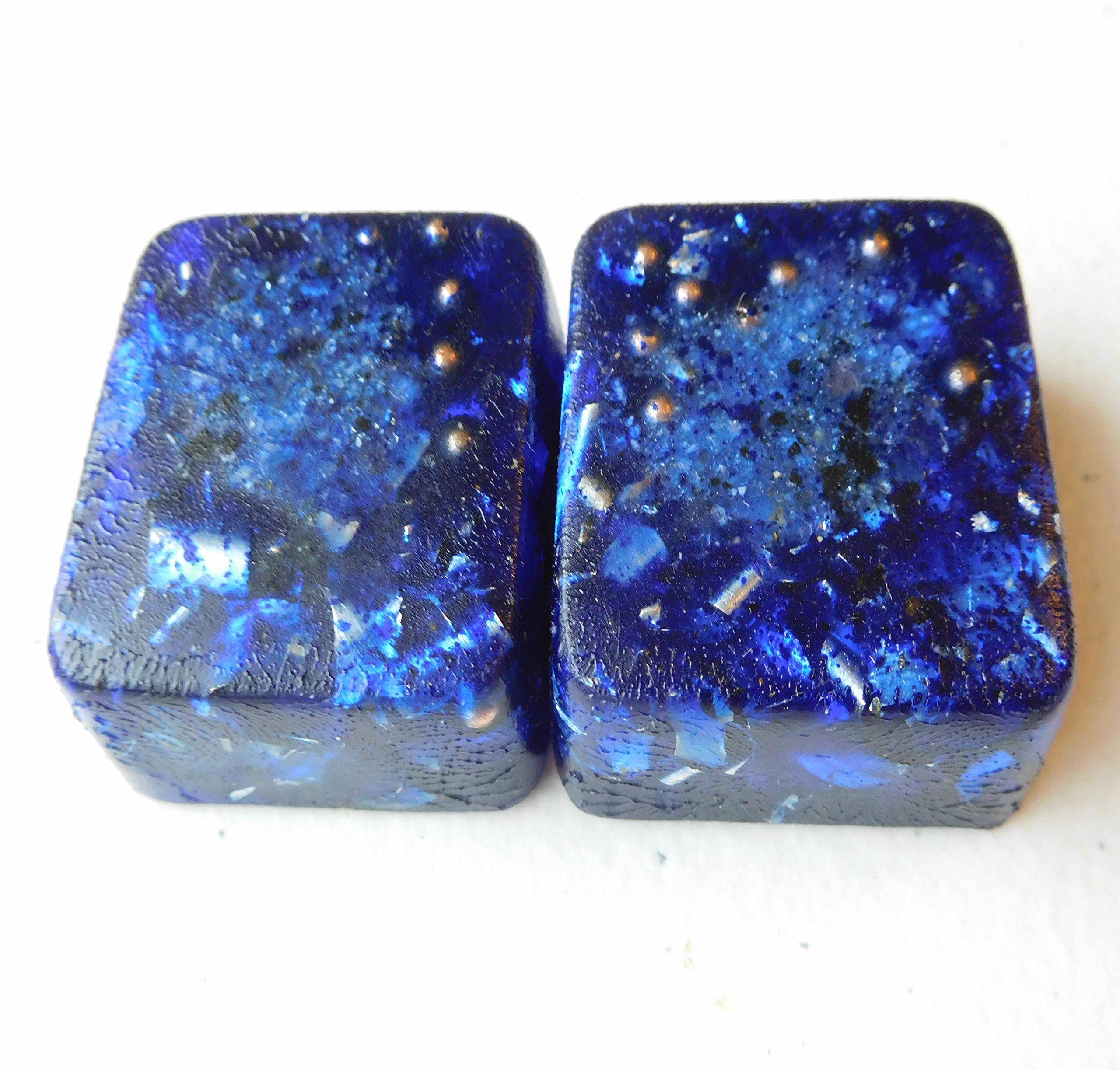 Blue Ultramarine 2 Mini Cube Tower Busters Crystal Orgone Generator Energy Accumulator 528Hz/7.83Hz/Advance Harmonics Many Beautiful Ingredients and Colors!! (Blue Ultramarine)