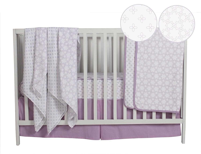 Purple Bacati Petals//Floral Muslin Girls 3 Piece Crib Set