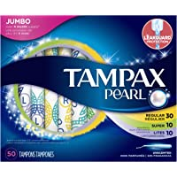 Tampax Pearl Plastic Triple Pack Light/Regular/Super Absorbency Unscented Tampons 50 Count