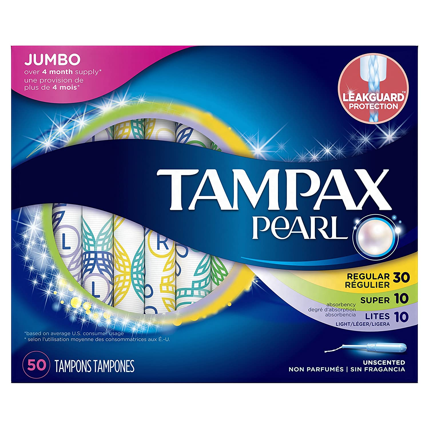 Tampax Pearl Plastic Tampons, Multipack, Light/Regular/Super Absorbency, Unscented, 50 Count NA