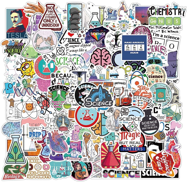 Laptop Stickers Back to School Engineering Math Medical Field Colorful Microscope Sticker Waterproof Water Bottle Sticker STEM Sticker