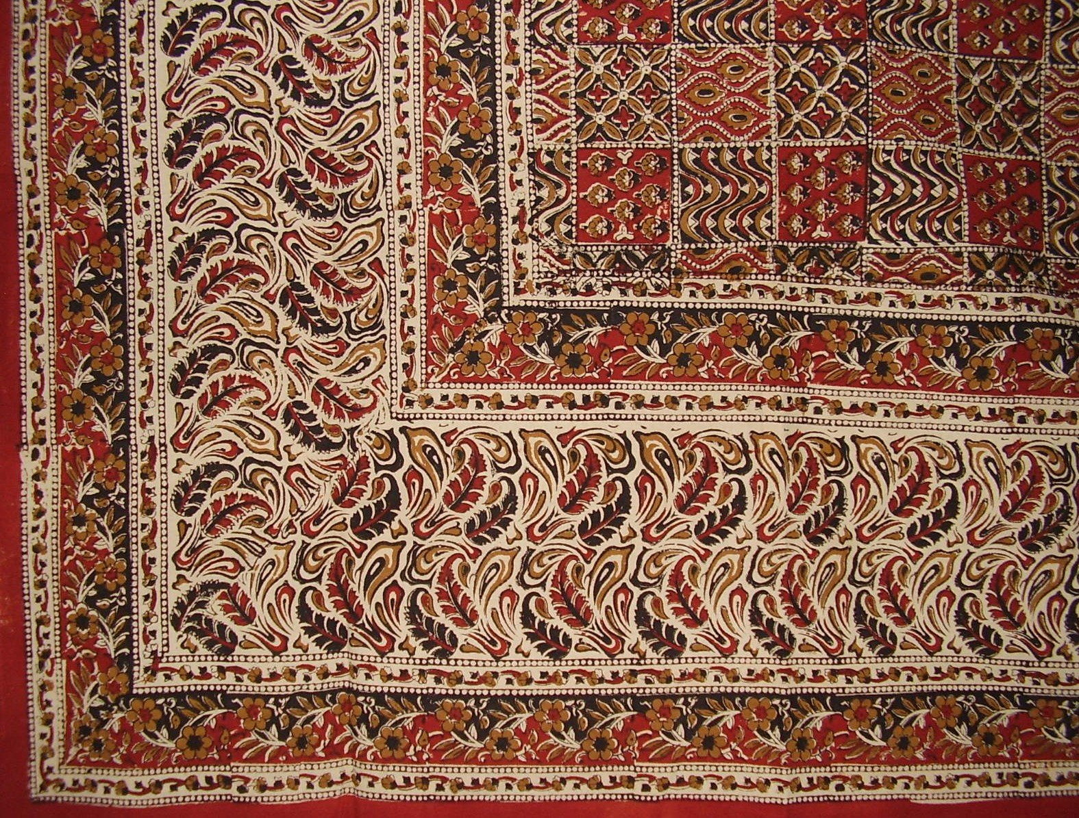 Kalamkari Block Print Tapestry Cotton Bedspread 108'' x 88'' Full-Queen Multi Color