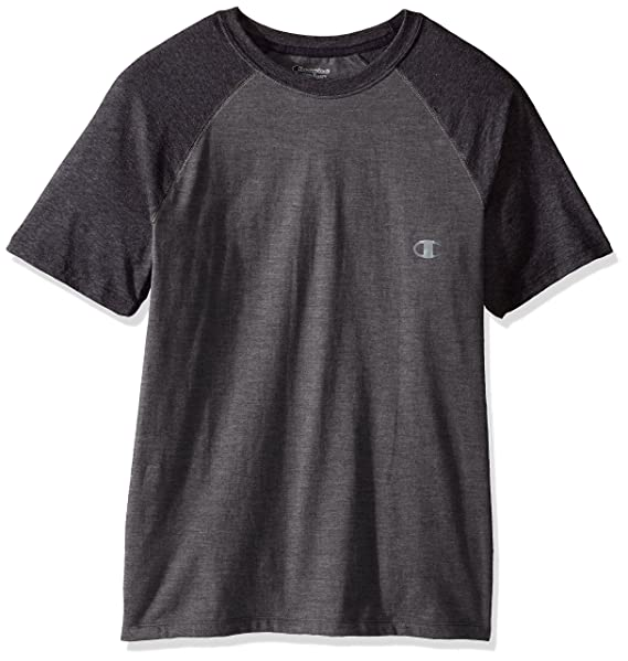 030aad942c3e Champion Men's Double Dry Cotton Short Sleeve Raglan T-Shirt, Oxford  Gray/Granite